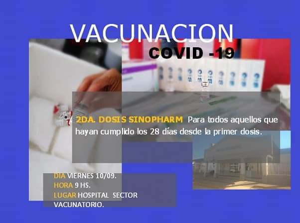 2da Dosis Sinopharm: Nuevos turnos