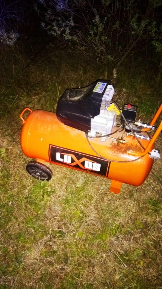 La Policía encontró un compresor denunciado como robado y detuvo a una persona